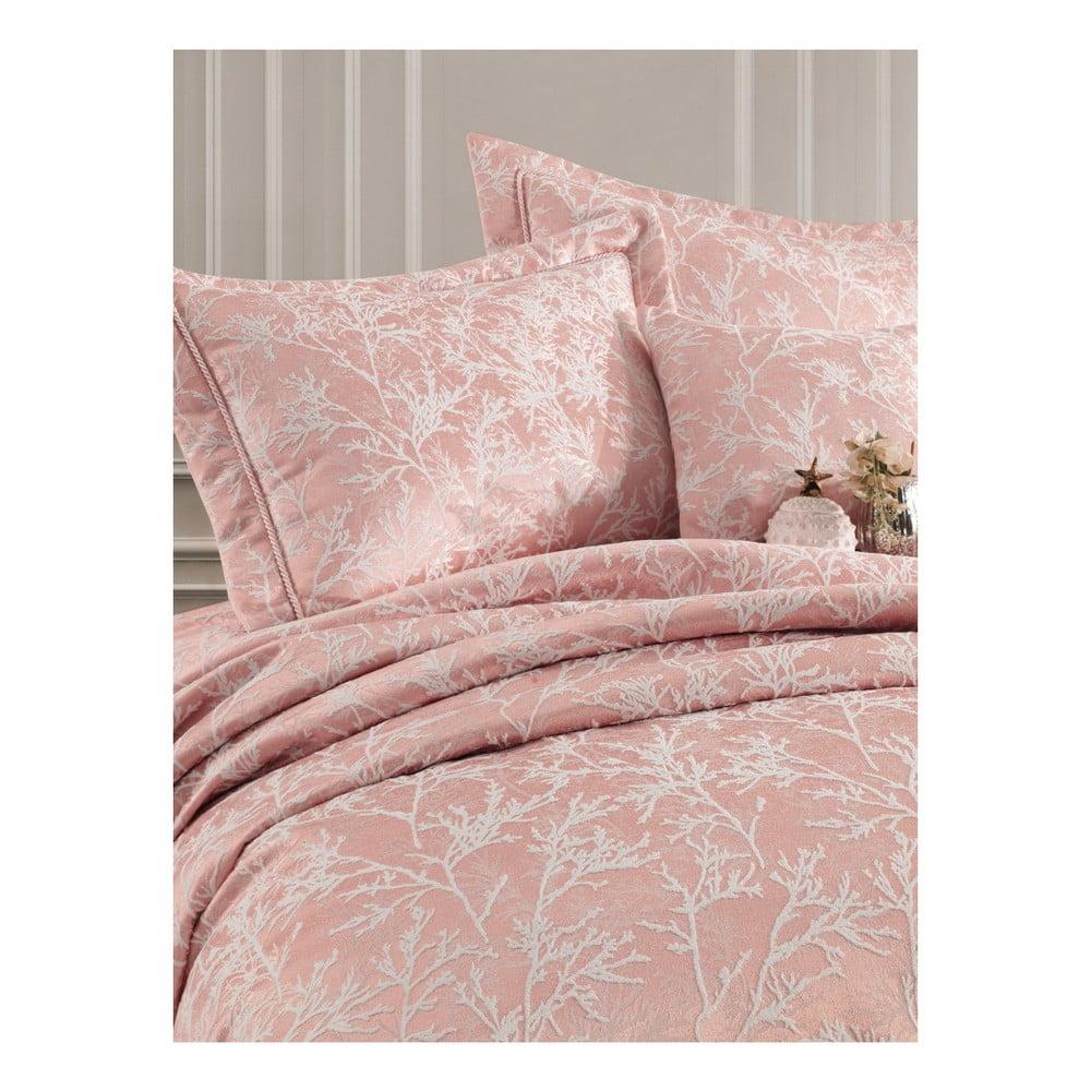 Set přehozu přes postel a 2 povlaků na polštář Bambina Powder, 250 x 260 cm