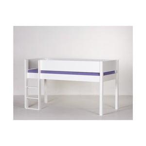 Bílá dětská postel na vysokých nohách s bezpečnostními postranními pelestmi a žebříkem Manis-h Frej, 90x160cm