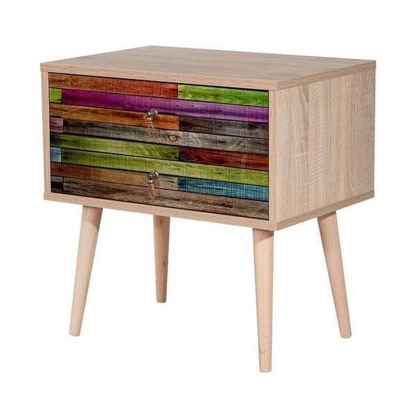 Dřevěný noční stolek Iris Rainbow