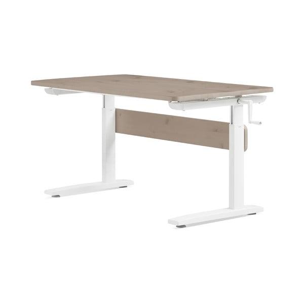 Hnědo -bílý psací stůl s nastavitelnou výškou Flexa