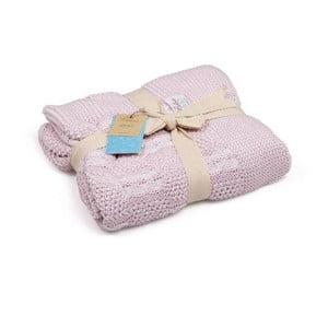Růžová bavlněná dětská deka Baby Ecru Lana, 90 x 90 cm