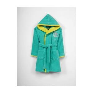 Dětský zeleno-žlutý bavlněný župan s kapucí, 9-12 let