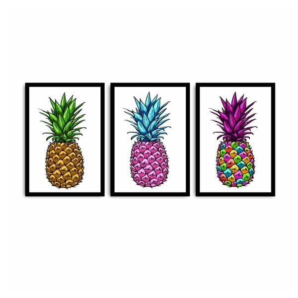 Tablou din 3 piese Pineapple, 109 x 50 cm