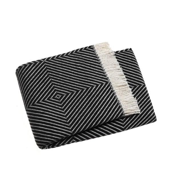 Tebas fekete pamutkeverék pléd, 140 x 180 cm - Euromant