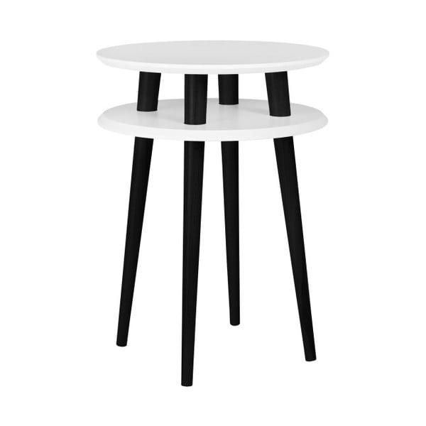 UFO fehér kisasztal fekete lábakkal, Ø 45 cm - Ragaba