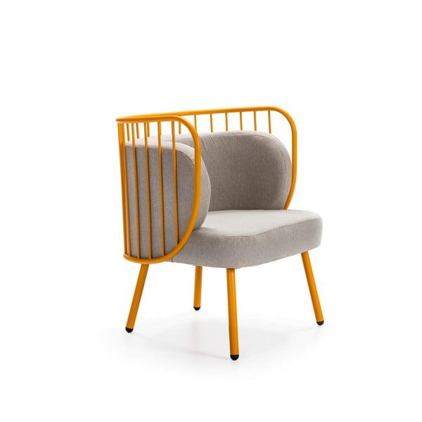 Nabi sárga fém fotel szürke párnával - Teulat