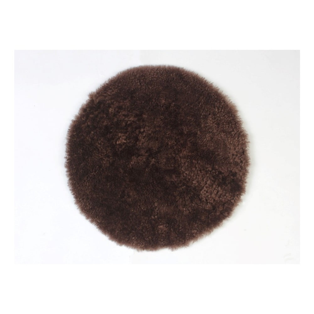 Hnědý vlněný polštář z ovčí kožešiny Auskin Adair, ∅ 35 cm