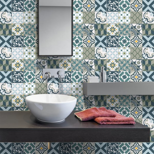 Sada 30 nástěnných samolepek Ambiance Wall Stickers Cement Tiles Azulejos Vicenzo, 15 x 15 cm