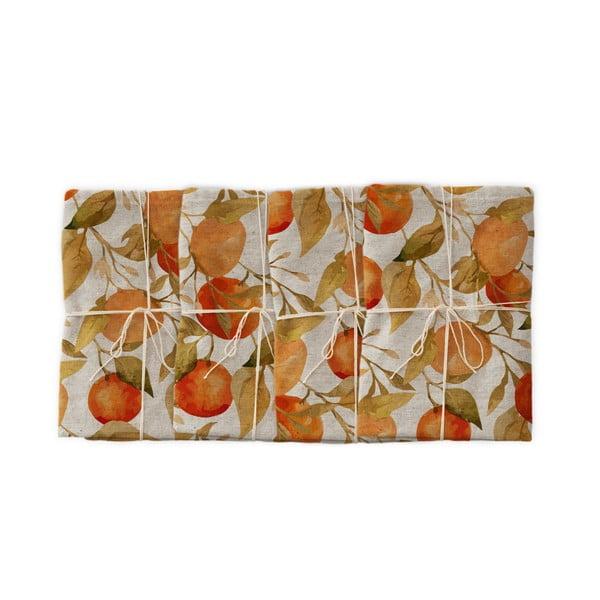 Oranges 4 db szövet szalvéta lenkeverékkel, 43 x 43 cm - Linen Couture
