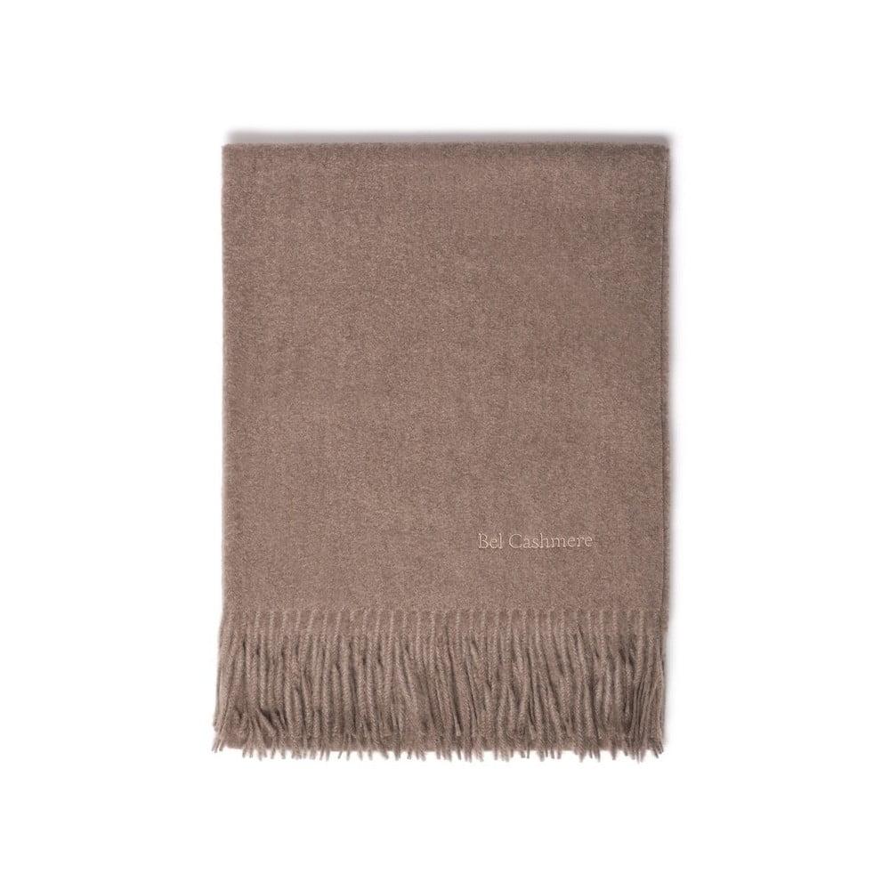 Světle hnědá kašmírová šála Bel cashmere Lea, 200 x 70 cm