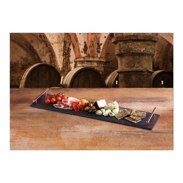 Břidlicový podnos Kitchen Craft Master Class s měděnými úchyty, délka 60 cm
