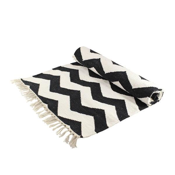 Vlněný koberec s cik cak vzorem, černá/bílá