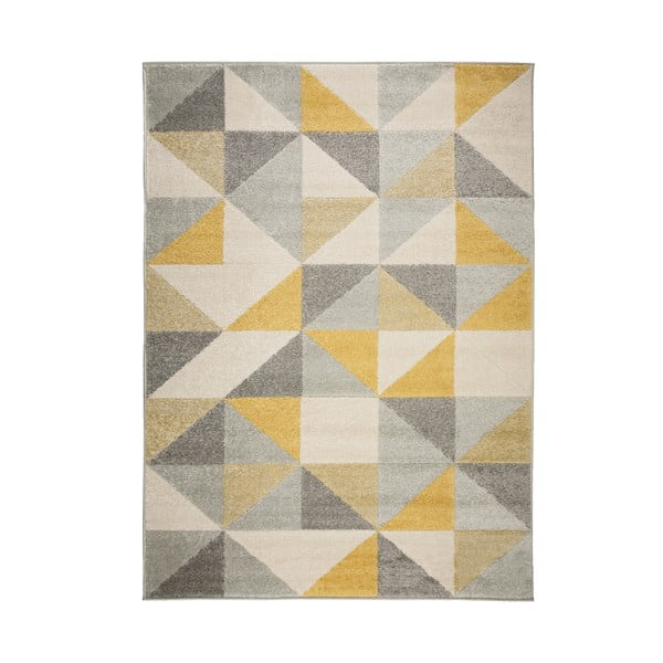 Covor Flair Rugs Urban Triangle, 133 x 185 cm, gri - galben