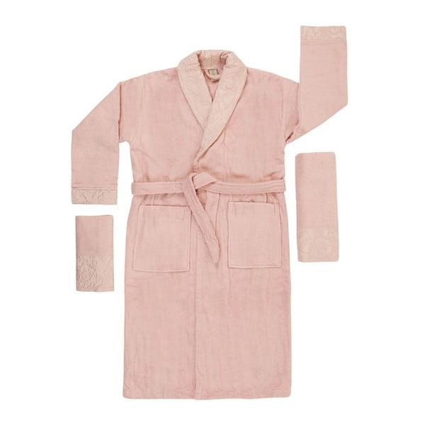 Pudrově růžový set županu, ručníku a osušky Crespo, vel. M/L
