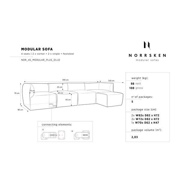 Krémová modulová čtyřmístná pohovka s lenoškou Norrsken Ebbe