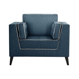Tmavě modré křeslo s detaily v krémové barvě Stella Cadente Maison Atalaia Blue Jeans