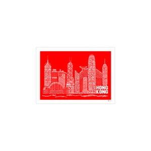 Plakát Hong Kong Red&White, 50x70 cm