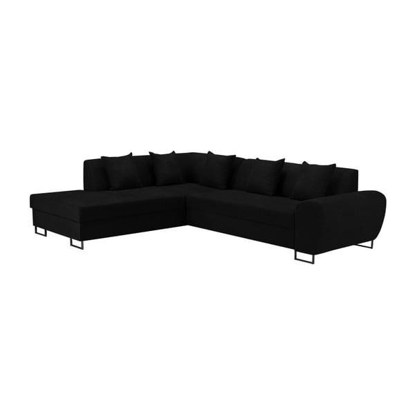 Černá rohová rozkládací pohovka s úložným prostorem Kooko Home XL Left Corner Sofa Puro