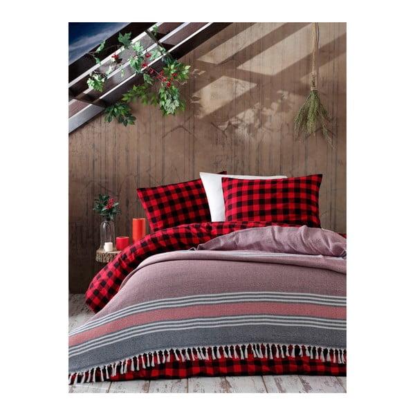 Cuvertură din bumbac pentru pat dublu Galina Black Red White, 220 x 240 cm, roz - gri