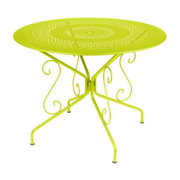 Limetkově zelený kovový stůl Fermob Montmartre, Ø96cm