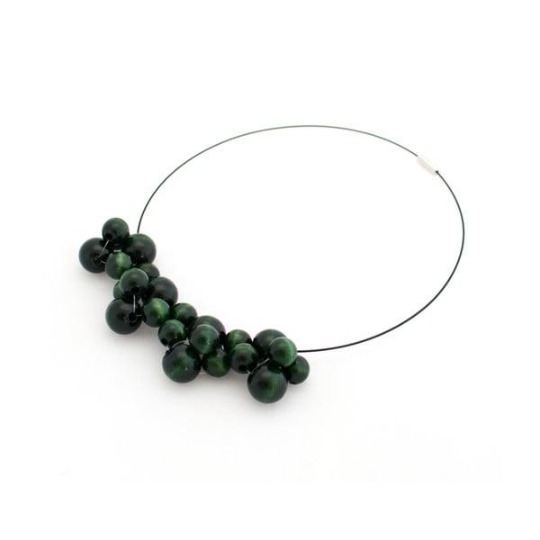 Tmavozelený drevený náhrdelník ko–ra–leBubbles