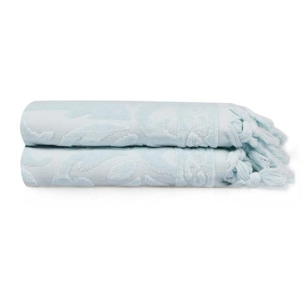 Sada dvou světle modrých ručníků Bohème, 90x50cm