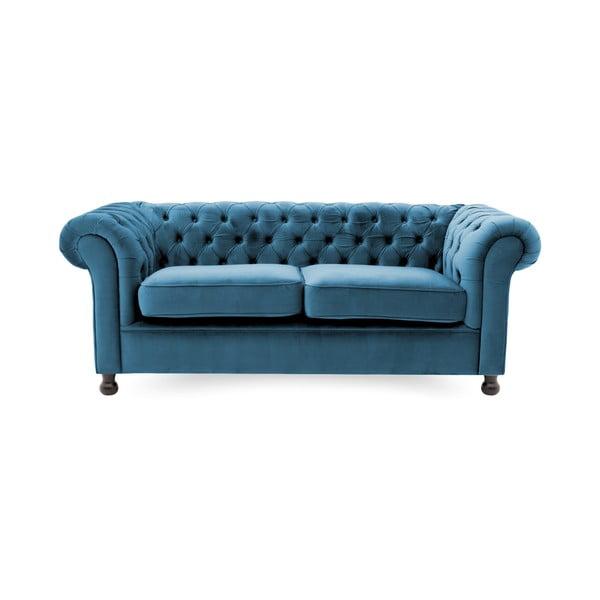 Niebieska sofa 3-osobowa Vivonita Chesterfield