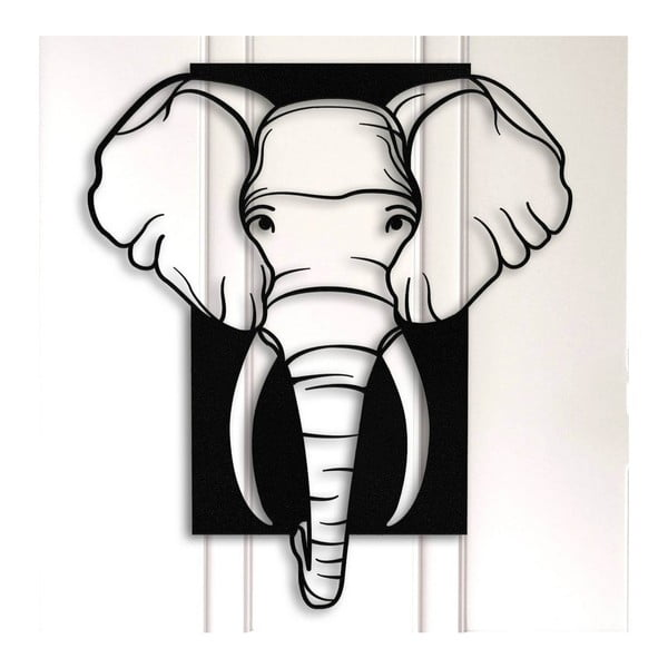 Elephant fekete fém fali dekoráció