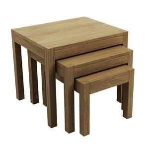 Sada 3 stolků z dubového dřeva Fornestas Sims