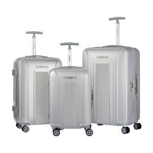 Sada 3 cestovních kufrů na kolečkách ve stříbrné barvě Murano Africa