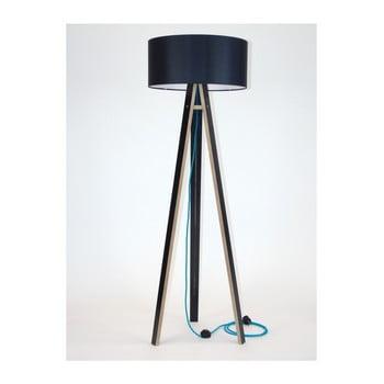 Lampadar negru cu abajur negru și cablu turcoaz Ragaba Wanda imagine
