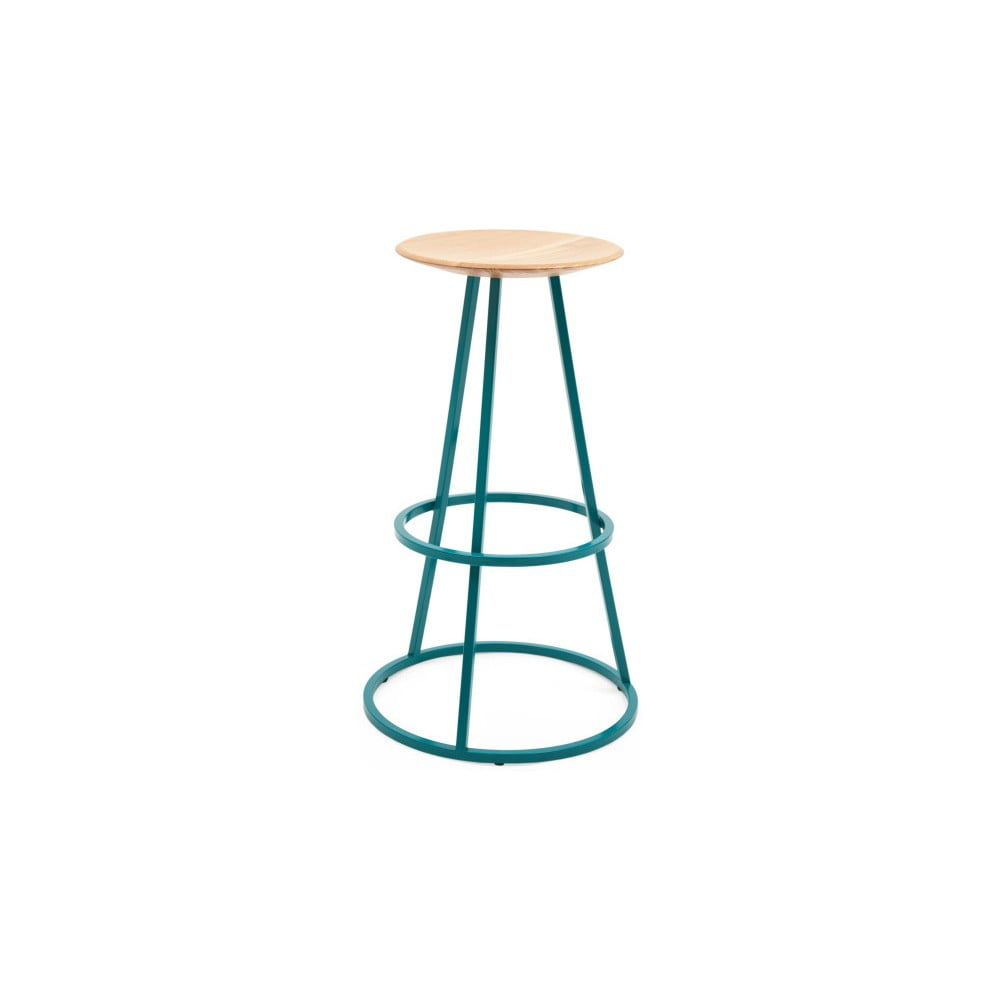 Barová stolička s dubovou deskou a modrou kovovou konstrukcí HARTÔ Gustave, výška 77 cm