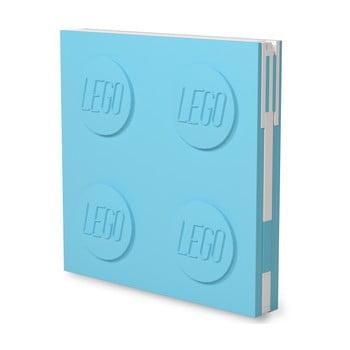 Jurnal pătrat cu pix cu gel LEGO®, 15,9 x 15,9 cm, turcoaz imagine