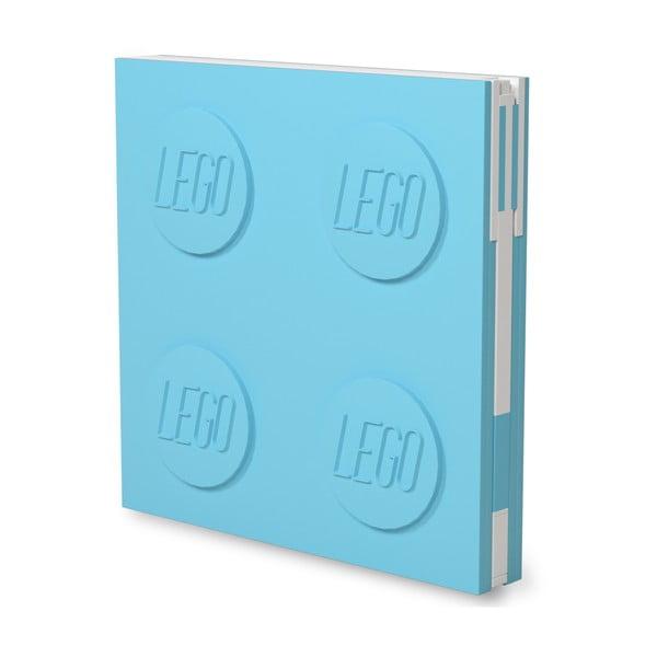 Jurnal pătrat cu pix cu gel LEGO®, 15,9 x 15,9 cm, turcoaz