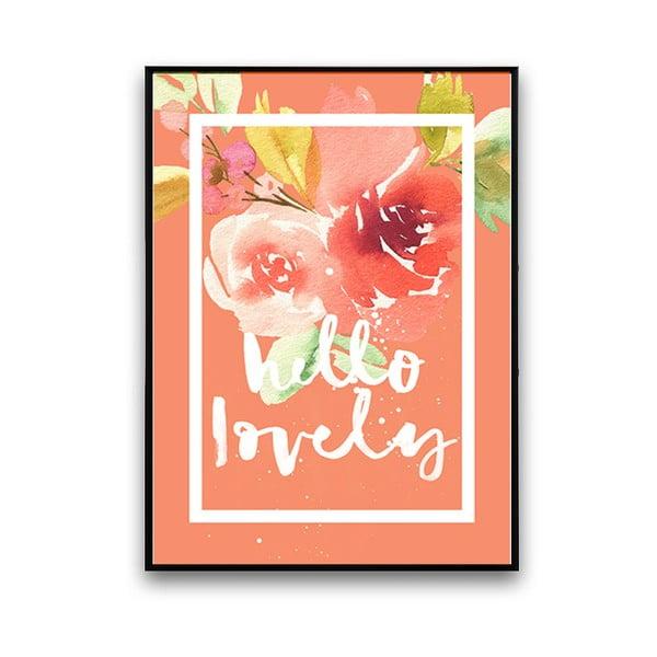 Plakát s květinami Hello Lovely, korálové pozadí, 30 x 40 cm