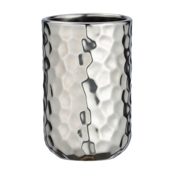 Keramický kelímek na kartáčky ve stříbrné barvě Wenko Lunas