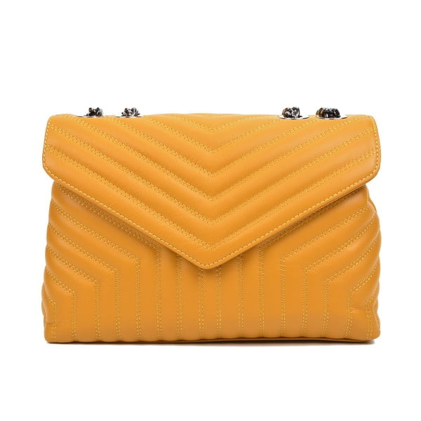 Žltá kožená taška cez rameno s 3 vreckami Luisa Vannini