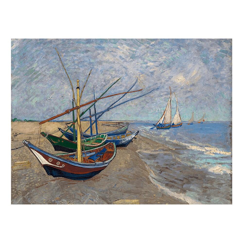 Reprodukce obrazu Vincenta van Gogha - Fishing Boats on the Beach at Les Saintes-Maries-de la Mer, 40x30 cm