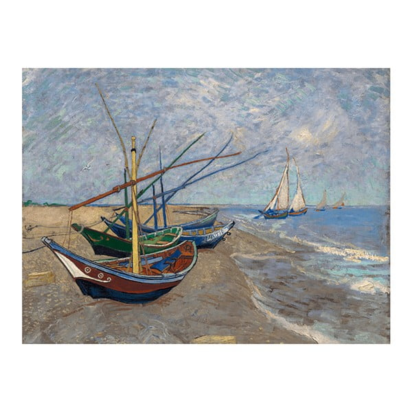 Reprodukce obrazu Vincenta van Gogha - Fishing Boats on the Beach at Les Saintes-Maries-de la Mer, 40x30 cm