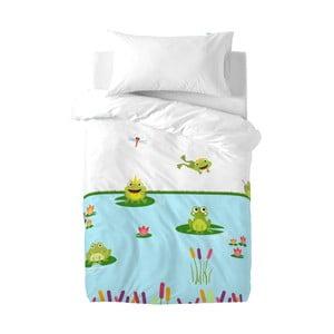 Dětské bavlněné povlečení na peřinu a polštář Mr. Fox Happy Frogs, 100x120cm