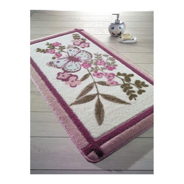 Růžová předložka do koupelny May, 55x57cm