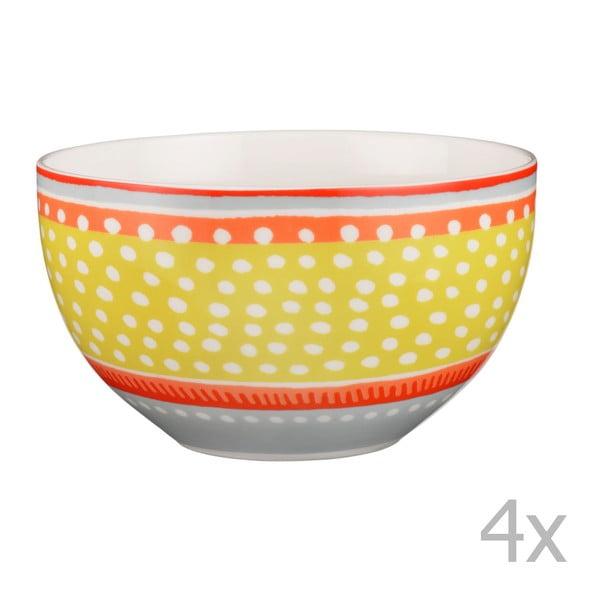 Sada 4 porcelánových misek s puntíky Oilily 15 cm, žlutá