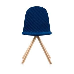 Tmavě modrá židle s přírodními nohami IkerMannequinStripe