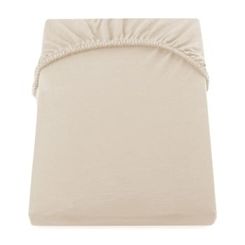 Cearșaf de pat cu elastic DecoKing Nephrite, 140–160 cm, bej imagine