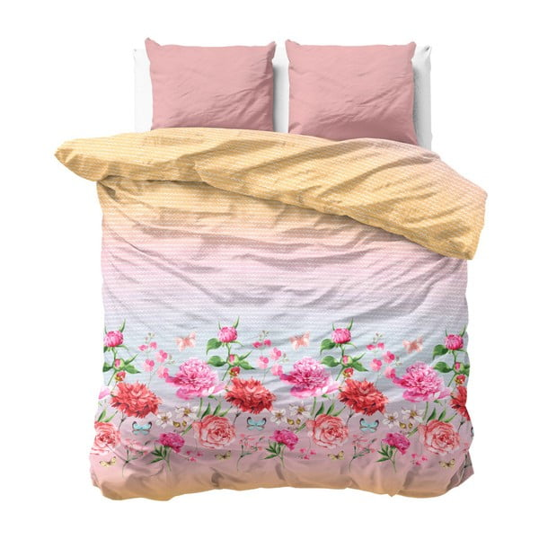 Povlečení na dvoulůžko z mikroperkálu Sleeptime Bright Flowers,200x200cm