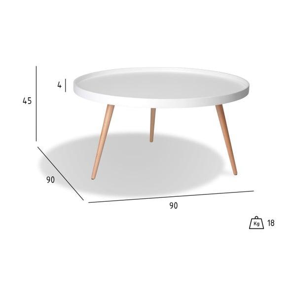 Măsuță de cafea cu picioare din lemn de fag Furnhouse Opus, Ø 90 cm, alb