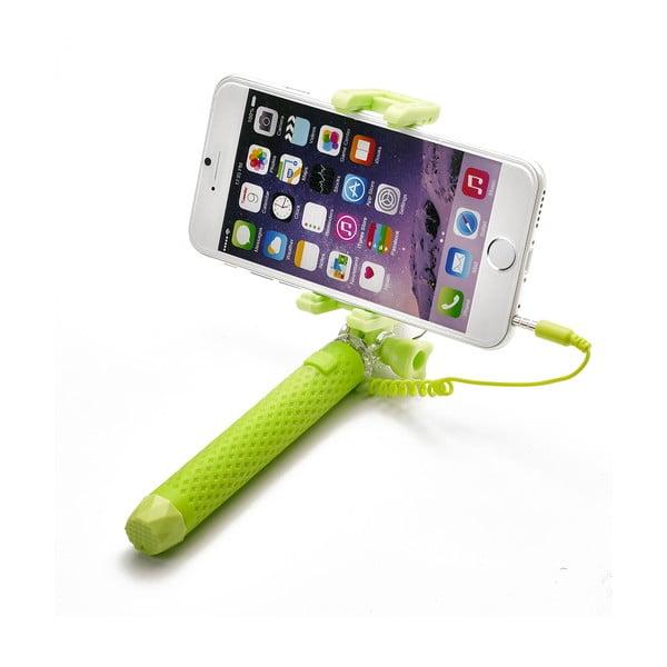 Zelená selfie tyč Celly Mini selfie, spoušť přes 3.5mm jack