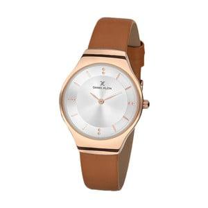 Dámské hodinky s hnědým koženým řemínkem Daniel Klein