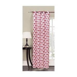 Draperie din microfibră DecoKing Triangles, 140 x 245 cm, roșu - alb