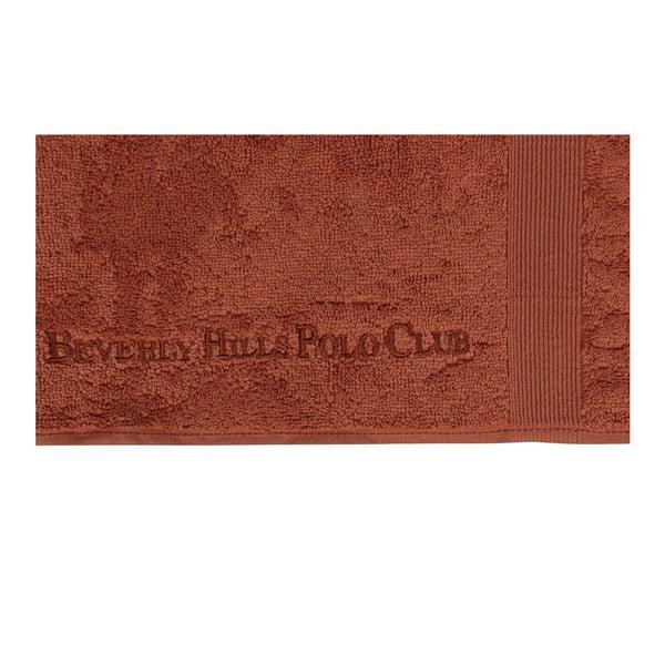 Sada dvou koupelnových předložek v cihlově červené barvě s obdélníkovým detailem Beverly Hills Polo Club, 86x50cm